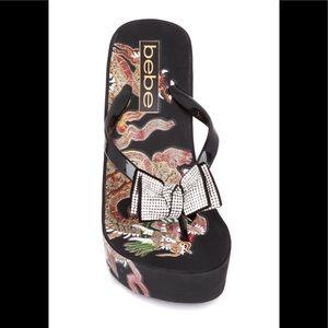 NWT BEBE Size 8 Alaya Dragon Print Wedge Sandal